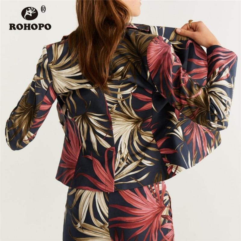 ROHOPO Notched Collar Single Breast Floral Slim Blazer Ladies Elegant Side Welt Pockets Vintage Outwear #2291