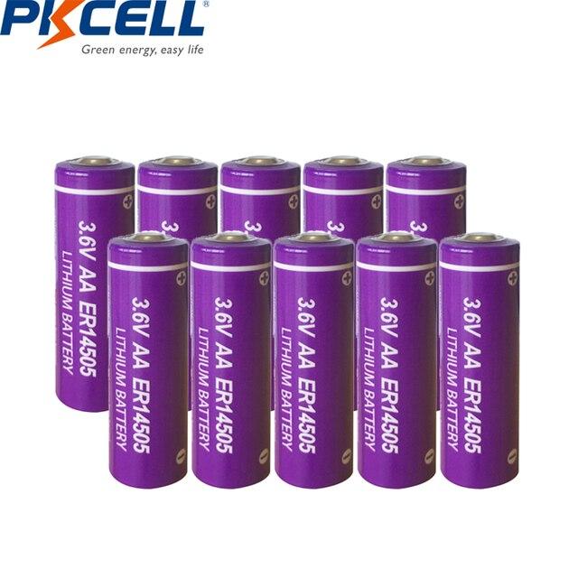 10個pkcell ER14505バッテリーLiSCLO2 3.6v 2400mah 14505単三リチウム電池一次電池LR6 R6P