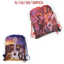 Disney COCO Gift-Bag Non-Woven-Bag Fabric Drawstring Backpack Decoration Kids 5/10/20/30pcs
