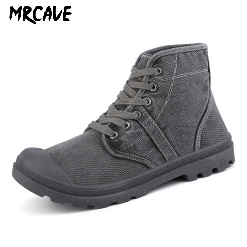 MRCAVE BOOTS Safety Shoes For Men Steel Toe Breathable Canvas Work Boot Anti-slip Boots Shoes For Industrial And Construction