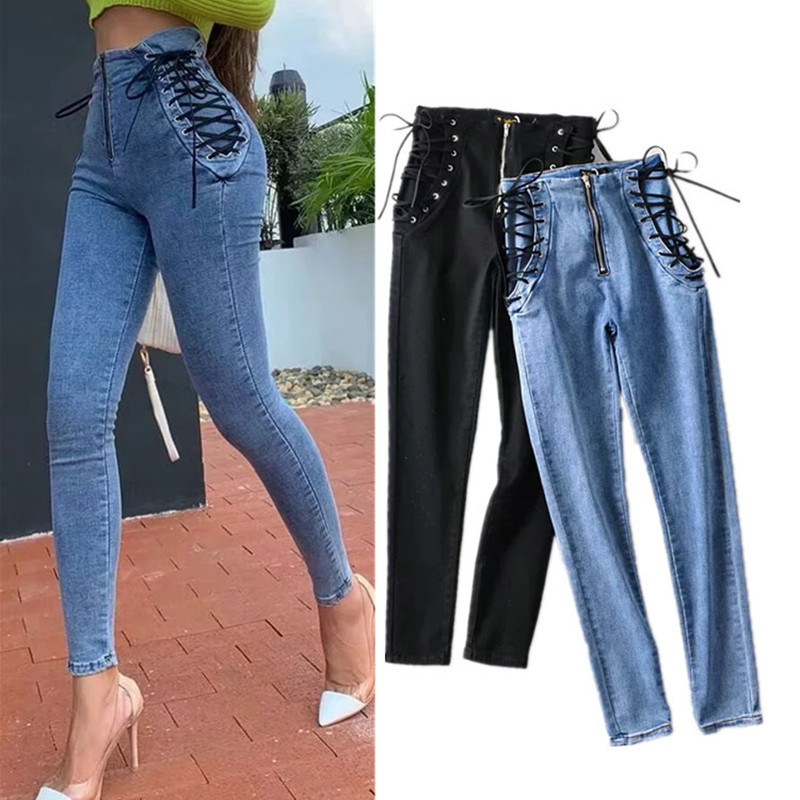 Tight Jeans The-United-States Pants High-Waist Summer And Spring Slim Sense Feet Hips