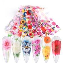 10 Pcs Nagel Folie Transfer Bloem Nail Wraps Zon Bloem Daisy Bloem Voor Nail Art Ontwerpen Decoratie Manicure Decals LA8202