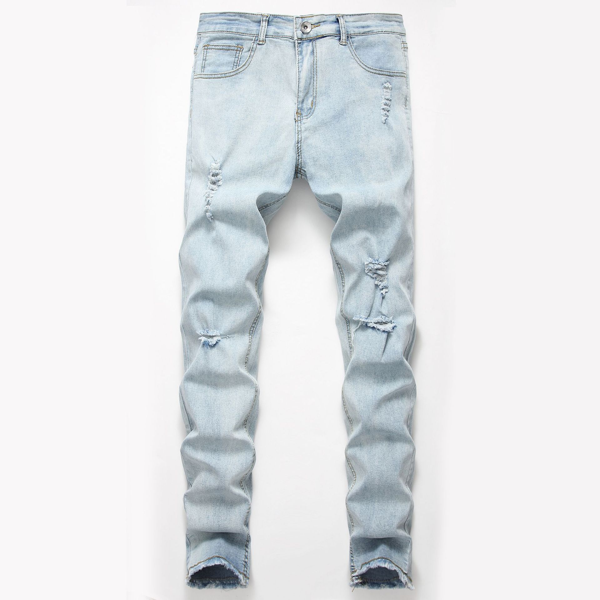 2019 New Style Europe And America Men's Jeans New Style With Holes Hot Selling Men's Trousers Skinny Pants
