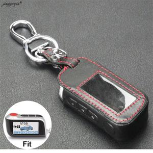 Image 1 - jingyuqin New A93 Leather Case For Starline A93 A63 Car alarm Remote Controller LCD Keychain Cover