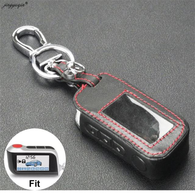 jingyuqin New A93 Leather Case For Starline A93 A63 Car alarm Remote Controller LCD Keychain Cover