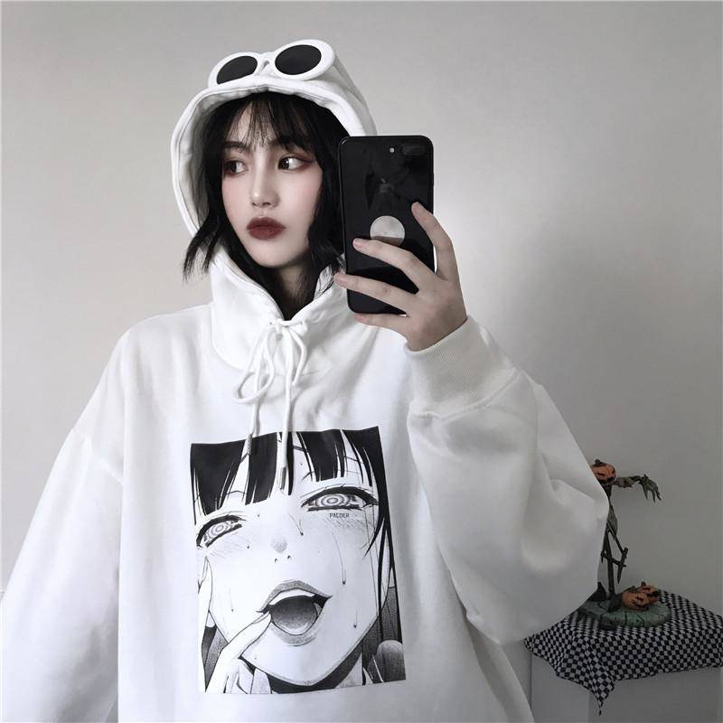 Casual Autumn Japanese Cute Hoodie Women Sexy Graphic Print Hoodie Streetwear Fashion White Pullover Japan Sweatshirts Females