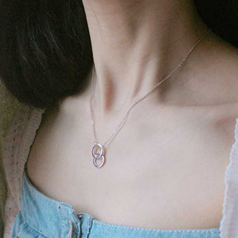 二重丸インターロック鎖骨ショートネックレスシルバーネックレス女性 Collares Nacklace