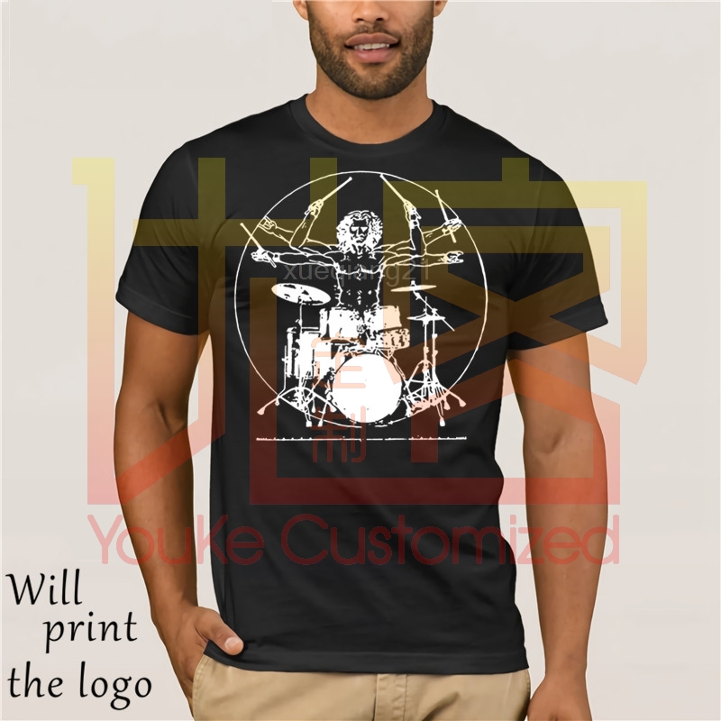 Hot prices Da Vinci drum T shirt new Vintage rock drummer man guitar pearl kit band TEE print T SHIRT O neck short sleeve image