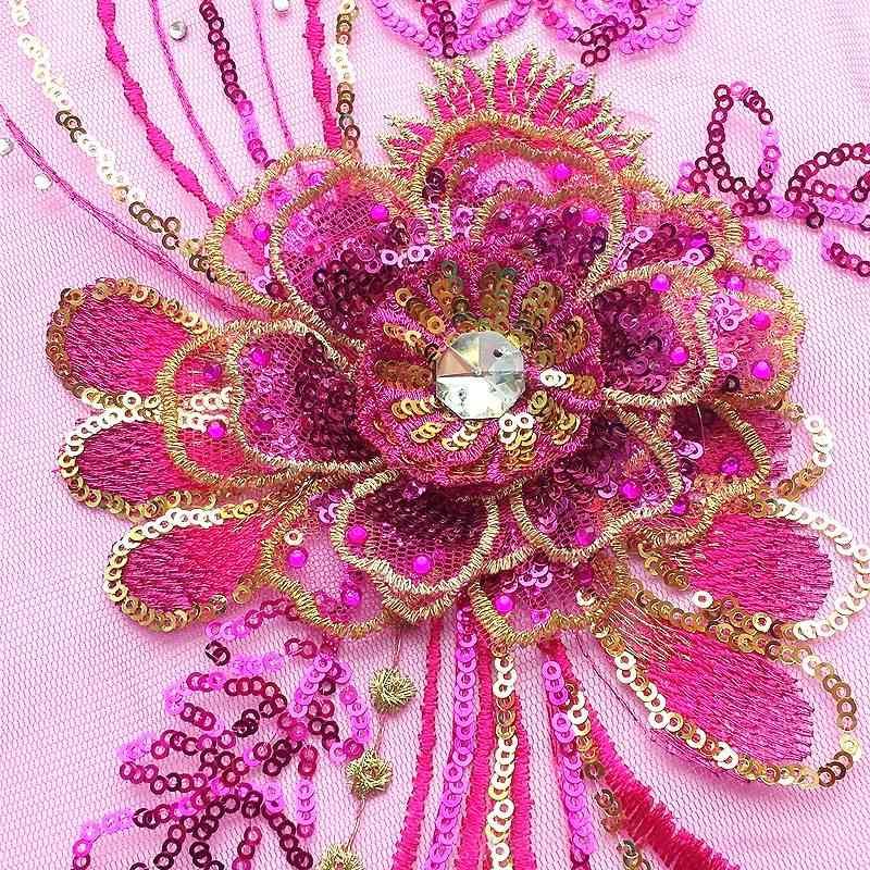 Flor de lentejuelas bordar perforación de encaje de novia Broochel aplique de lentejuelas flor bordado vestido de noche de boda Diy encaje Scrapboo