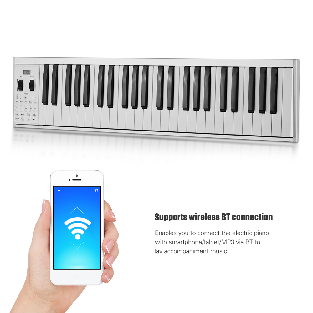 Portable MIDI Electronic Keyboard Piano 49  Keys Electric Piano 128 Tones 128 Rhythm 100 Demo Songs Teaching Recording with Bag