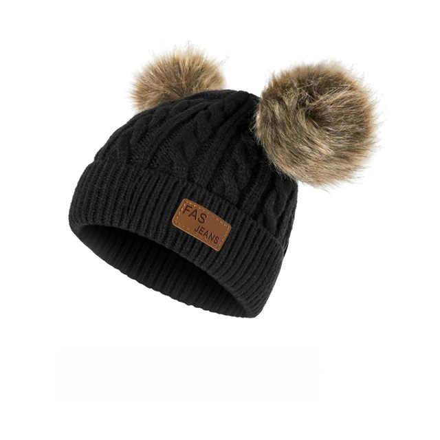 Girls Boys Christmas Faux Fur Ball Beanie Baby Knit Cap Warm Hat Kids Winter Hat