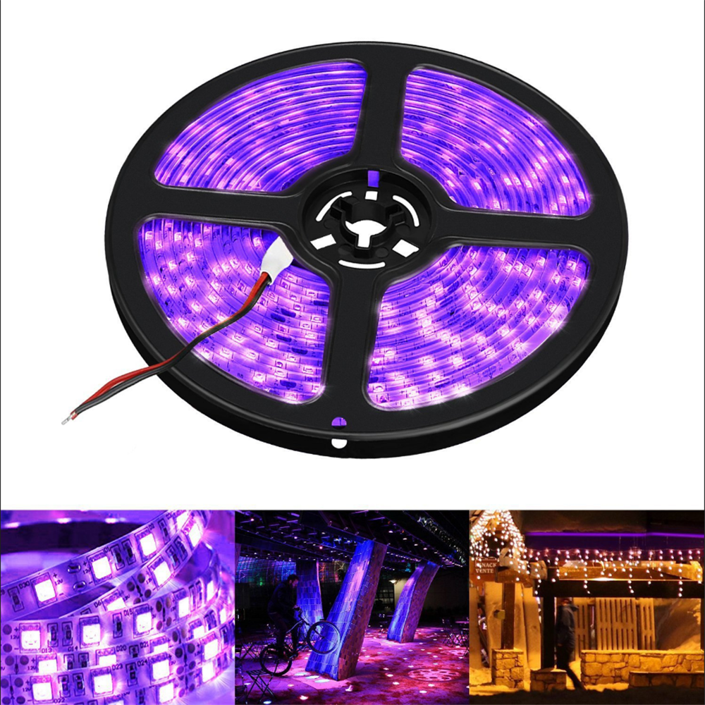 Uv Led Strip Light 395-405nm Ultraviolet Tape Banknote Verification Aquarium Disinfection Fluorescent Lamp Nail Diode 2835 12V