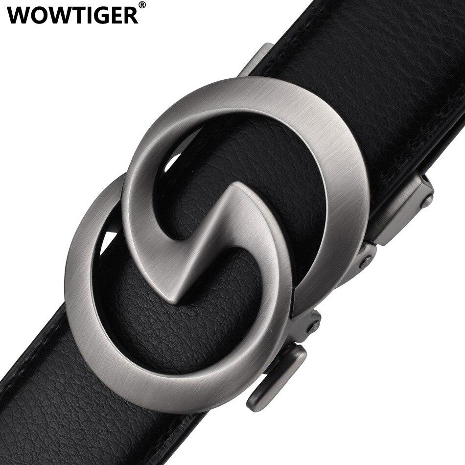 WOWTIGER Black 3.5cm Cowhide Genuine Leather Mens Belt Strap Male Automatic Buckle Belts For Men Luxury Brand Designer Men Belt
