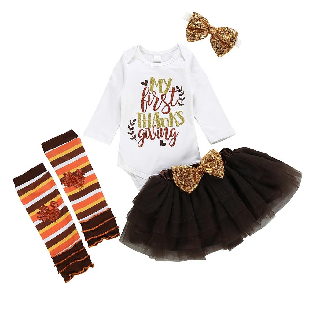 Baby Girl Clothes 2020 Infant Baby Girls Thanks Giving Day Romper Tutu Skirt Hairband Socks Set Roupa Infantil Menino