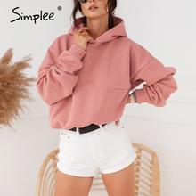 Simplee przyczynowy różowy krótki kobiety bluza polarowa z długim rękawem jesień zima ponadgabarytowych bluzy z kapturem luźna koszula damska pull femme