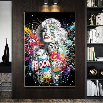 Graffiti Pop Art of Beautiful Woman Printed on Canvas 1