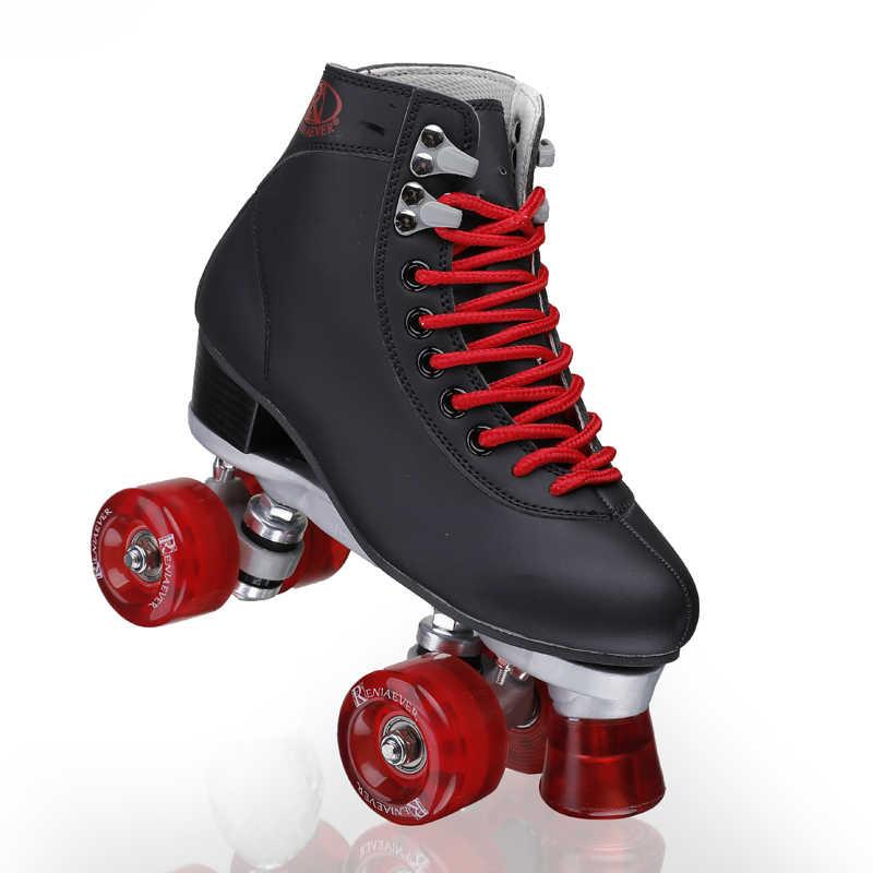 Kadın Paten Siyah Ve şarap Kırmızı 4 Tekerlekli Ayakkabı Yüksek Ayak Dört Paten Ayakkabıları Aliexpress
