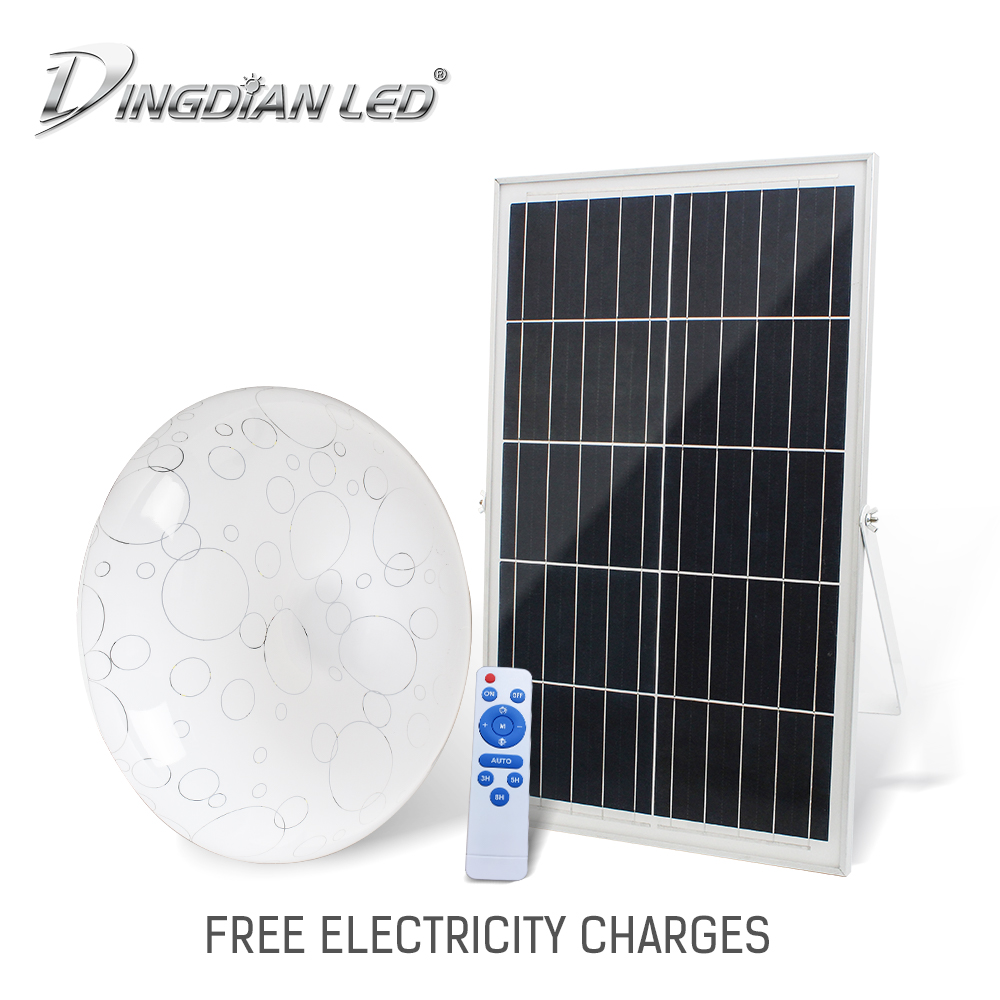 Solar LED Ceiling Lamp DC3.2V 36W Remote Easy Installation Indoor Ultra Thin Solar Panel Led Ceiling Lamp Bedroom Kitchen Lamp
