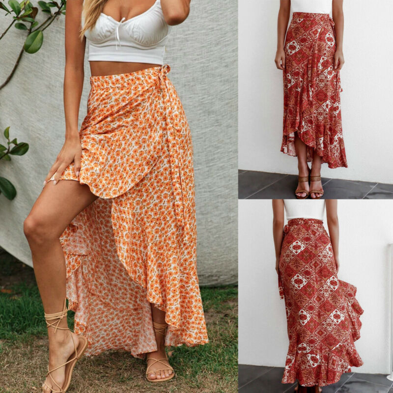 Women Ladies High Waist Plain Ruffle Long Skirt Summer Beach Swimwear Cover Long Dress Party Boho Maxi Dress Size 6-14
