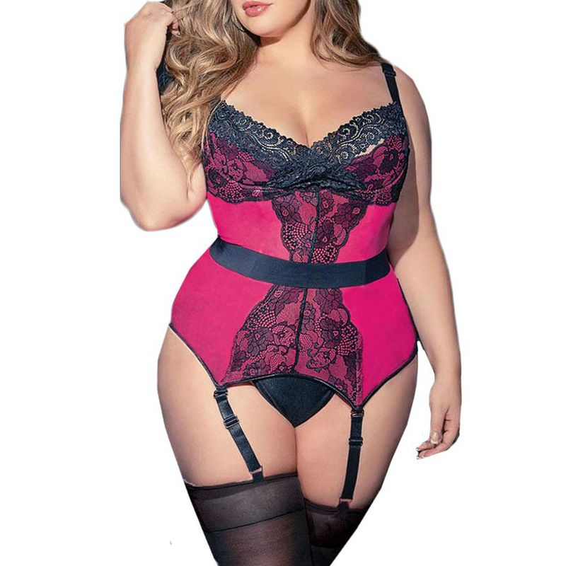 Sexy Lingerie Women Plus Size Lace Corset Erotic Sex Underwear With Garter Set Sexy Costumes Babydoll Porn Langerie Mujer 3-5XL