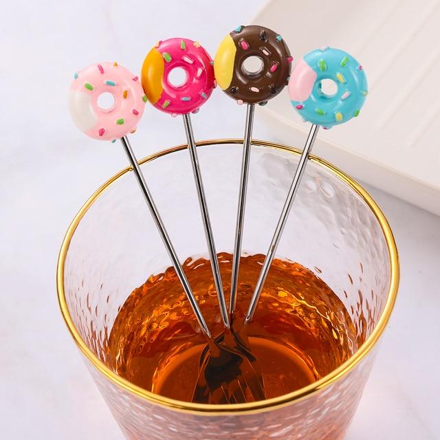 Nuevo Mini Acero inoxidable precioso donut postre cuchara tenedor té y café helado herramienta de cocina y hogar cubiertos vajilla