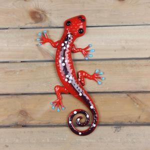 Image 4 - Home Decor metalowy gekon dekoracje ścienne do dekoracji ogrodu rzeźby rzeźby na zewnątrz animals Jardin
