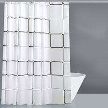 PEVA White Square Thick Shower Curtain With Hooks Waterproof Mildew Resistant Bath Durable High Quality Bathroom