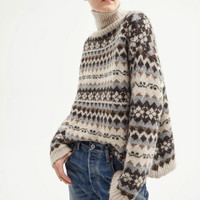 Vintage Jacquard Alpaca Sweater Lady Turtleneck Long Sleeve Knitwear Women Casual Knitted Pullover