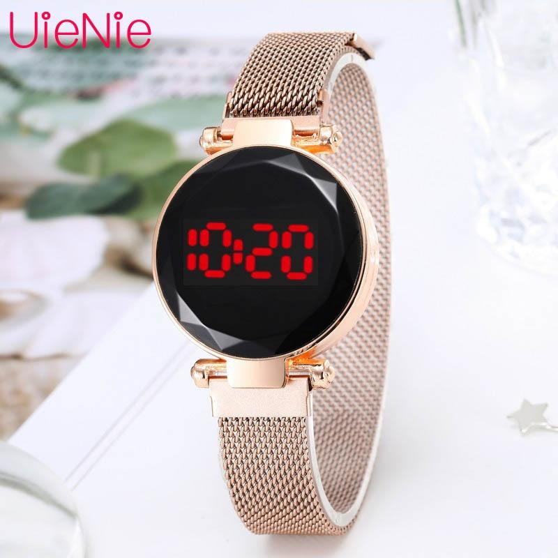 LED Watch Men's Digital Electronic Clock Watch Women's Fashion Dress Wristwatch Milan Magnet Buckle Quartz Watch