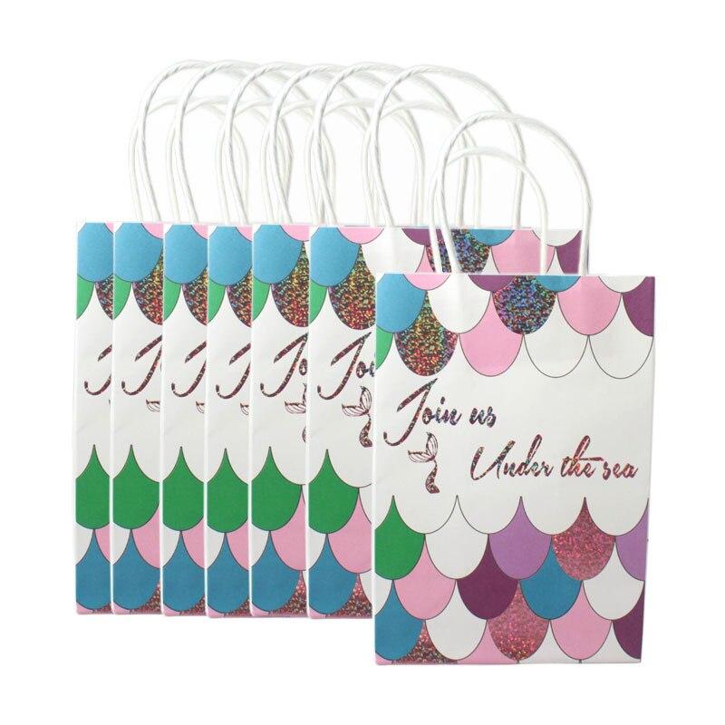 12 pièces Kraft papier sac avec poignées pour mariage sirène cadeau sac fête à la mode vêtements cadeaux multifonction