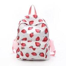 Girl Fruit Strawberry Rucksack Backpack Harajuku Style Cute Shoulder Bags Leisure Bowknot Riband Kawaii School Bag Travel