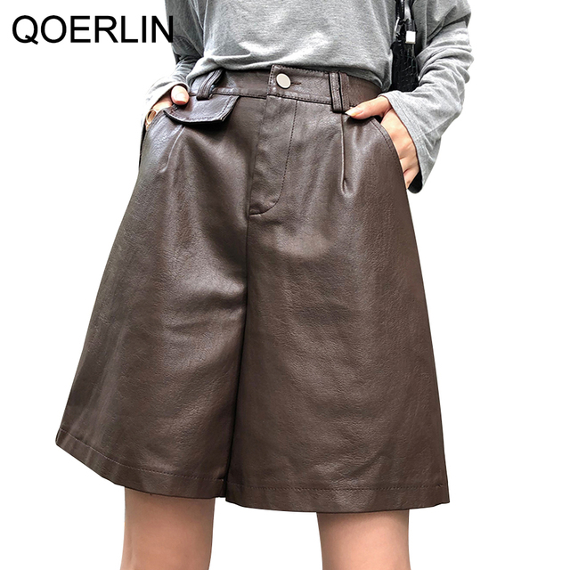 QOERLIN PU Bermuda Shorts for Women Faux Leather Shorts Stylish High Waist Shorts Streetwear Plus Size Pockets Trouser Female 1
