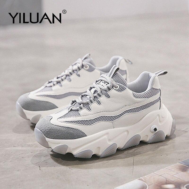 Cuir papa chaussures femmes 2020 printemps nouveau chaussures décontractées mode femme sauvage épaisse semelle blanche plate-forme baskets plat unique chaussures