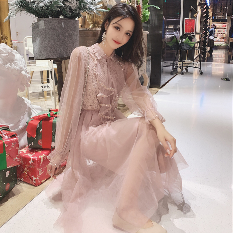 Photo Shoot Mesh Dress Women's 2019 Spring New Style Frilled Joint Lace Beads Dress Two-Piece Set