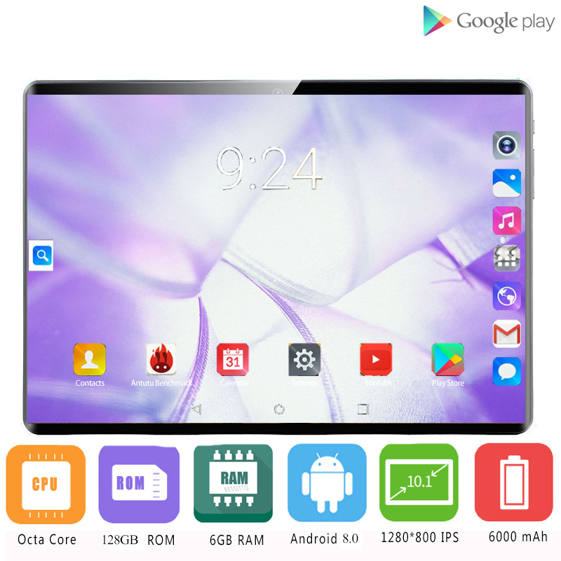 2020 Sales Hot 10.1 Inch Tablet Pc Android 8.0 1280*800 IPS 4G LTE Octa Core 6GB RAM 128GB ROM 8MP WiFi GPS Tablets 10.1