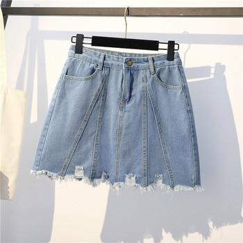 Summer Women Bottoms Patchwork Tassel Basic Denim Skirt Casual High Waist Pockets Hole Black Plus Size Mini