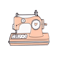 Pink Sewing Machine Enamel Pin Custom Brooches Bag Clothes Lapel Pin Handcraft Badge Cartoon Jewelry Gift for Kids Friends game machine enamel pin cartoon pink blue game pad badges brooches denim clothes bag lapel pin jwewlry gift for friends kids