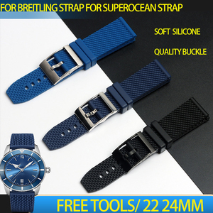 Soft Silicone Rubber watchband Black dark blue 22mm 24mm Bracelet For navitimer/avenger/Breitling strap Superocean watch band