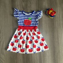 baby girls summer dress girls back to school clothes apple print dress girls stripe dress girls boutique dress with bow cheap girlymax COTTON Knee-Length Crew Neck REGULAR Short Casual Fits true to size take your normal size PATTERN DXQ-540549 geometric