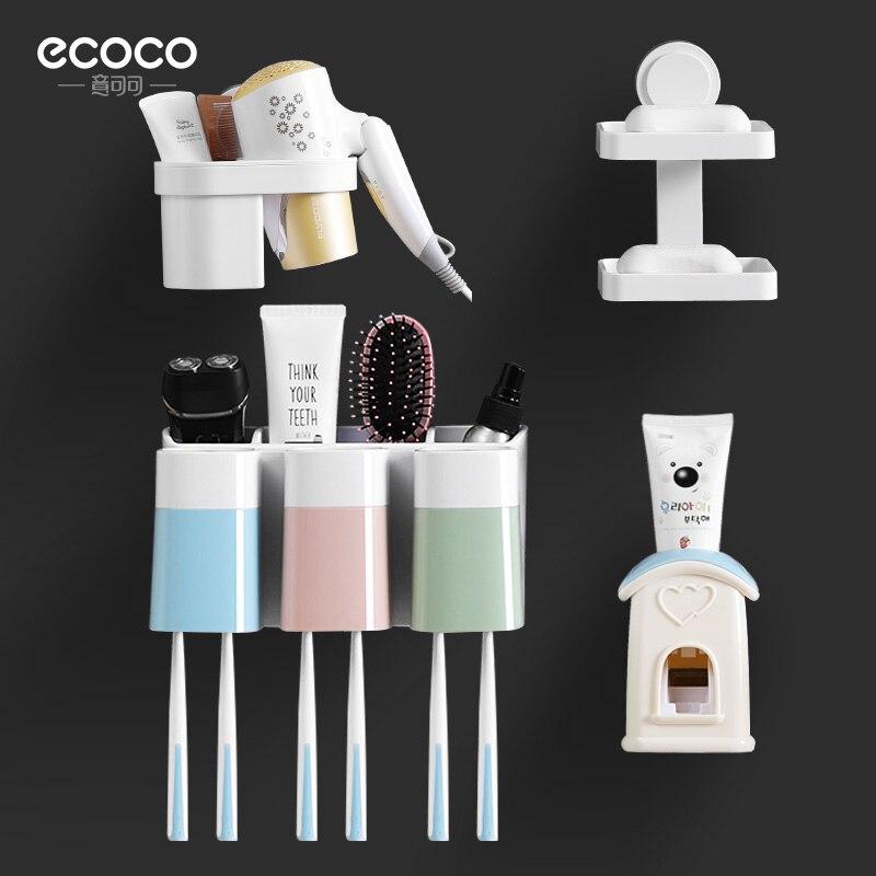 Ensemble salle de bain cacao porte-brosse à dents automatique dentifrice sèche cheveux Double porte savon lot de 4