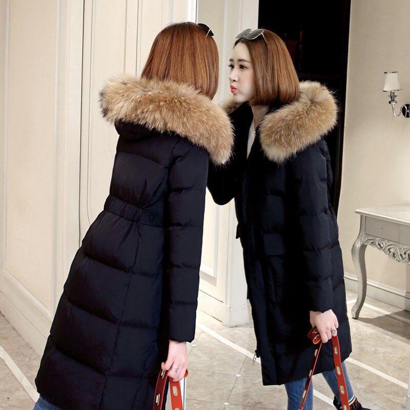 Mode Winter Jacke Frauen Große Pelz Gürtel Mit Kapuze Dicke Daunen Parkas X-Lange Weibliche Jacke Mantel Schlank Warme Winter outwear 2019 Neue