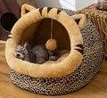 Кровать для домашних животных, собак, кошек, с шариком, зимняя теплая Всесезонная общая Закрытая кровать, съемная моющаяся кошачья будка, то...