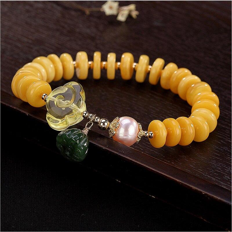 Pas faux S925 en argent sterling pierres précieuses rétro vintage authentique perles meilleure qualité croyance religion perle ambre Bracelet 17cm