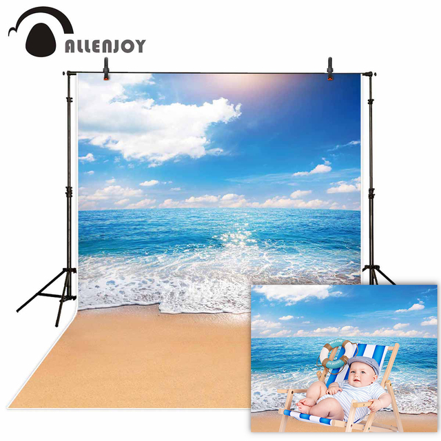 Allenjoy photophone backdrops Summer sky sea beach ocean waves Natural scenery sand photographic background photocall photobooth