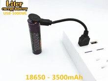 מחשב נייד סוללה 4PCS ליטר אנרגיה סוללה USB 5000ML ליתיום Rechargebale סוללה USB 18650 3500mAh 3.7V ליתיום סוללה + USB חוט