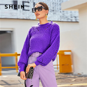 Image 3 - SHEIN Purple Drop Shoulder Pointelle Chunky Knit Sweater Women Tops Autumn Winter Solid Bishop Sleeve O Neck Casual Sweaters