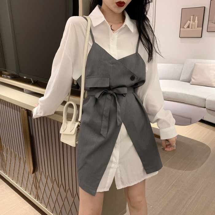 Neploe Women Two Pieces Suits Belt Slim Sling Dress + Long Sleeve Elegant Blouse Dresses 2020 Spring Fashion Korean Sets 4A118 2