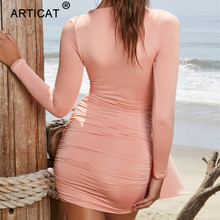 Articat Elegant Deep V-Neck Sexy Autumn Dress Women 2020 Long Sleeve Pleated Bodycon Party Dress Short Casual Dress Vestidos