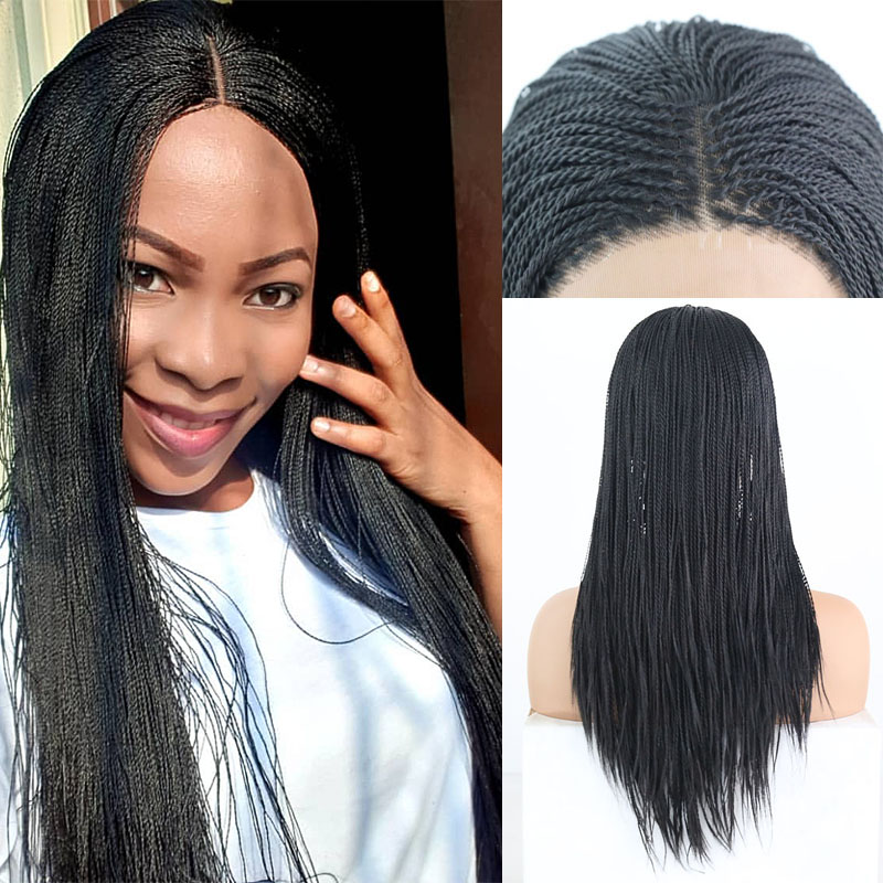 RONGDUOYI Black High Temperature 500piece Cosplay Wig Synthetic Lace Front Wigs For Women Micro 2x Twist Braided Lace Braids Wig