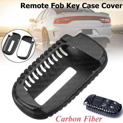fibra de carbono caso chave do carro capa escudo se encaixa para dodge durango challenger